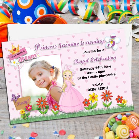 10 Personalised Princess Birthday Party PHOTO Invitations N83